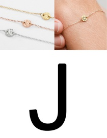 Fashion Golden-j (6mm) Bump Stainless Steel Engraved Geometric Round Bracelet