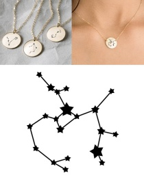 Fashion Steel Color-sagittarius (13mm) Stainless Steel Geometric Round Engraved Constellation Necklace
