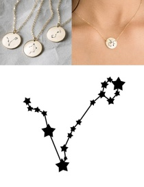 Fashion Steel Color-pisces (13mm) Stainless Steel Geometric Round Engraved Constellation Necklace