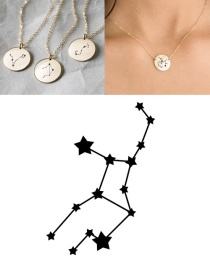 Fashion Golden-virgo (13mm) Stainless Steel Geometric Round Engraved Constellation Necklace