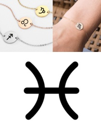 Fashion Rose Gold-pisces (13mm) Gold-plated Geometric Round Stainless Steel Engraved Constellation Bracelet