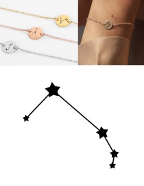 Fashion Steel Color-aries (9mm) Round Stainless Steel Gilt Engraved Constellation Bracelet