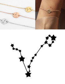 Fashion Rose Gold-pisces (9mm) Round Stainless Steel Gilt Engraved Constellation Bracelet