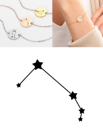 Fashion Rose Gold-aries (13mm) Round Stainless Steel Gilt Engraved Constellation Bracelet
