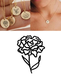Fashion Golden-january (9mm) Engraved Plant Flower Stainless Steel Geometric Round Necklace