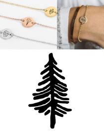 Fashion Rose Gold (9mm) Titanium Steel Carved Plant Geometric Round Bracelet