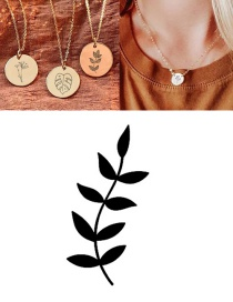 Fashion Rose Gold (9mm) Titanium Steel Carved Plant Geometric Round Necklace