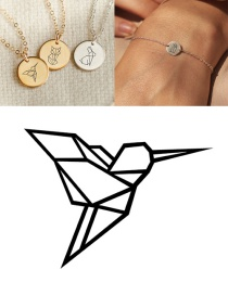 Fashion Golden Stainless Steel Carved Bird Geometric Round Bracelet 9mm
