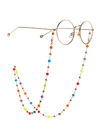 Fashion Golden Round Bead Jelly Copper Bead Glasses Chain