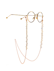 Fashion Golden Hollow Copper Peach Heart Glasses Chain