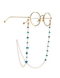 Fashion Golden Natural Deformed Turquoise Handmade Glasses Chain