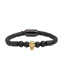 Fashion Golden Ghost Head 8mm Frosted Skull Stainless Steel Magnetic Buckle Leather Bracelet