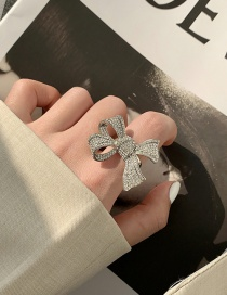 Fashion Silver Open-ended Ring With Diamond Bow