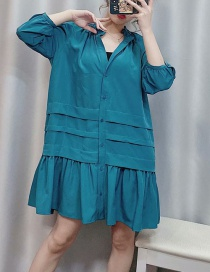 Fashion Photo Color Stacked Pleated V-neck Dress