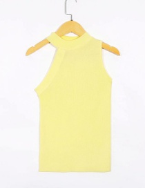 Fashion Yellow Sleeveless Asymmetric Knitted T-shirt