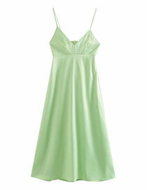 Fashion Photo Color Cutout Silk-satin V-neck Camisole Dress