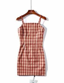 Fashion Photo Color Fine Grain Red Plaid Dress