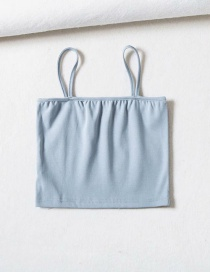 Fashion Light Blue Open-neck Sling Threaded Flat Bandeau Top