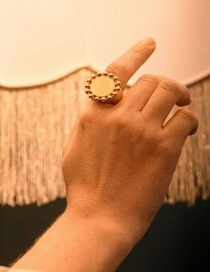 Fashion Golden Alloy Hollow Disc Ring