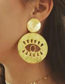Fashion Gold Eyes Alloy Brushed Earrings