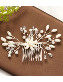 Fashion White Pearl Weave Flower Comb