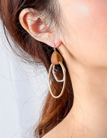 Fashion Golden Leather Circle Sand Silver Earrings