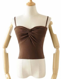 Fashion Coffee Color Knotted Chest Strap (including Chest Pad) T-shirt