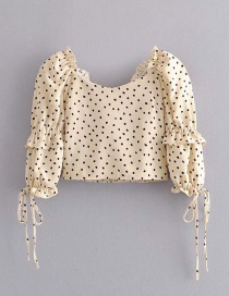 Fashion Apricot Polka Dot Elastic Ruffled Lace Up Shirt
