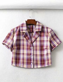 Fashion Fuchsia Plaid Plaid Printed Short Sleeve Lapel Shirt