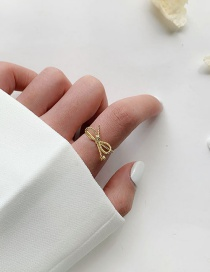 Fashion Prime Circle Bow Gold Butterfly Ring