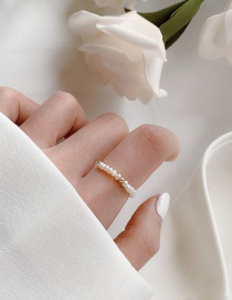 Fashion White A Natural Freshwater Pearl Stretch Woven Ring