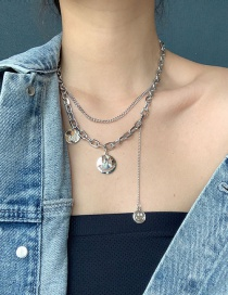 Fashion Silver Double Chain Smiley Necklace