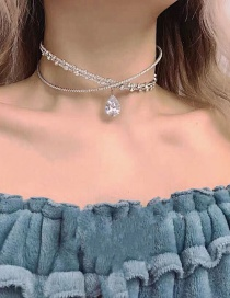 Fashion White Rhinestone Water Drop Double Cross Neck Ring