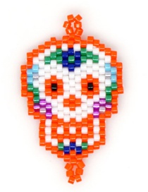 Fashion Orange Bead Woven Skull Accessories