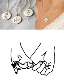 Fashion Golden Stainless Steel Engraved Gesture Round Necklace 13mm