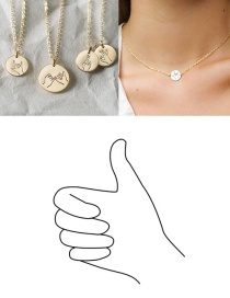 Fashion Steel Color-thumb Geometric Round Stainless Steel Titanium Steel Engraved Gesture Double Hole Necklace 13mm