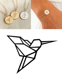 Fashion Rose Gold Stainless Steel Carved Bird Geometric Round Bracelet 13mm