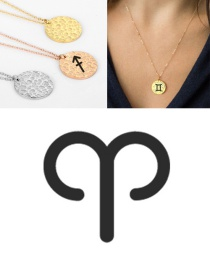 Fashion Golden-aries Stainless Steel Engraved Constellation Geometric Round Necklace 15mm