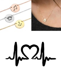 Fashion Steel Color Titanium Steel Engraved Ecg Stainless Steel Double Hole Round Necklace 9mm