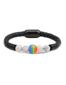 Fashion Black 8mm White Turquoise Beaded Stainless Steel Magnetic Buckle Leather Bracelet