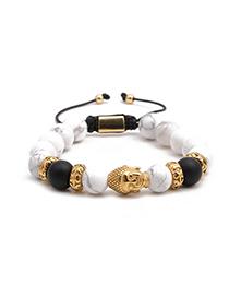 Fashion Golden White Turquoise Stainless Steel Woven Adjustable Buddha Head Bracelet For Men