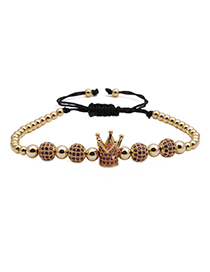 Fashion Golden Rose Red Zircon Micro Inlaid Colorful Zircon Crown Diamond Ball Braided Bracelet