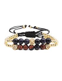 Fashion Gold Brass Micro-set Zircon Beveled Braided Mixed Sands Blue Sands Adjustable Bracelet