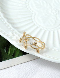 Fashion Golden 24k Real Gold Electroplated Zircon Leaf Cutout Ring