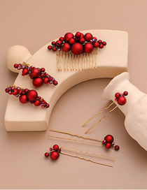 Fashion Red Hand-woven Pearl Crystal Hair Comb Comb Set