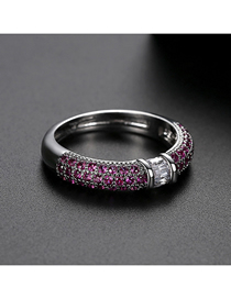 Fashion Red 9 Yards Copper-set Zircon Contrast Alloy Ring