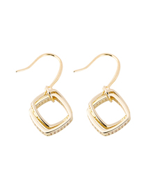 Fashion Golden Geometric Square Bifurcated Curved Micro-Set Stone Earrings