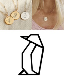 Fashion Rose Gold Stainless Steel Engraved Penguin Geometric Round Necklace 15mm
