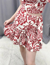 Fashion Red Floral Print Panelled Pleated Skirt