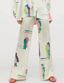 Fashion Color Geometric Print Loose Slacks